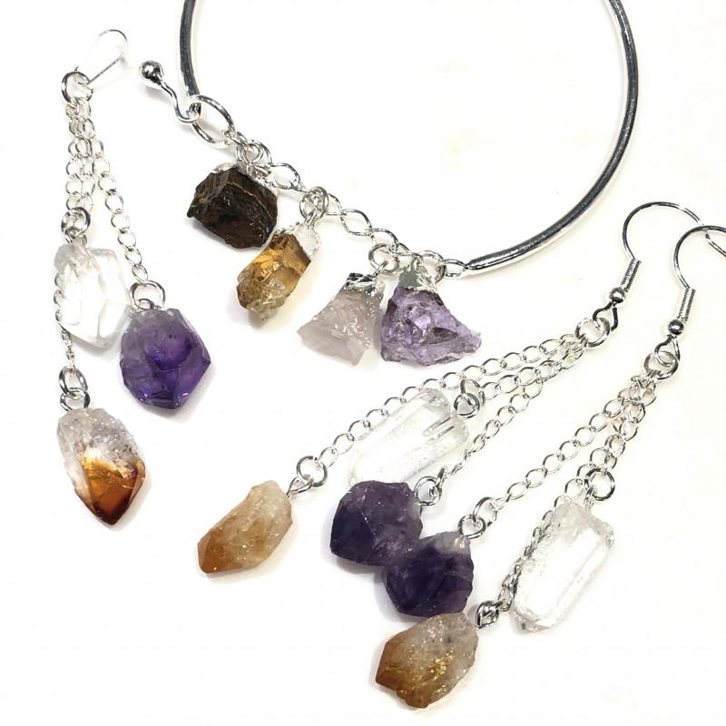Raw Multi Gemstone  swing  4 pc jewelry set Br 2032