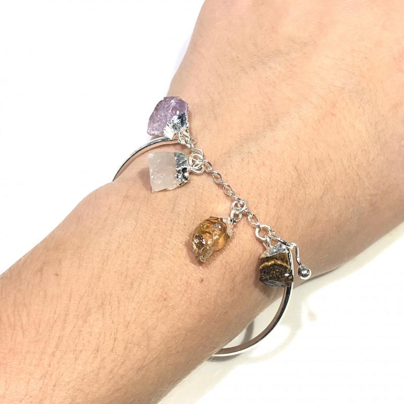 Raw Multi Gemstone  swing  4 pc jewelry set Br 2033