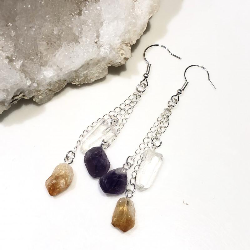 Raw Multi Gemstone  swing  4 pc jewelry set Br 2034