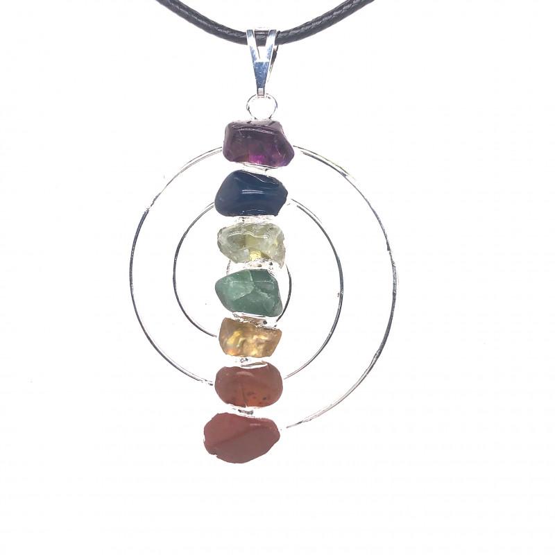 Seven Chakra - natural stones - Infinite design pendant 675