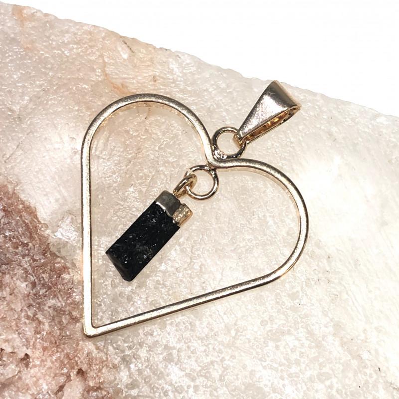 Raw Black Tourmaline  Lovers Heart Pendant  BR 2051