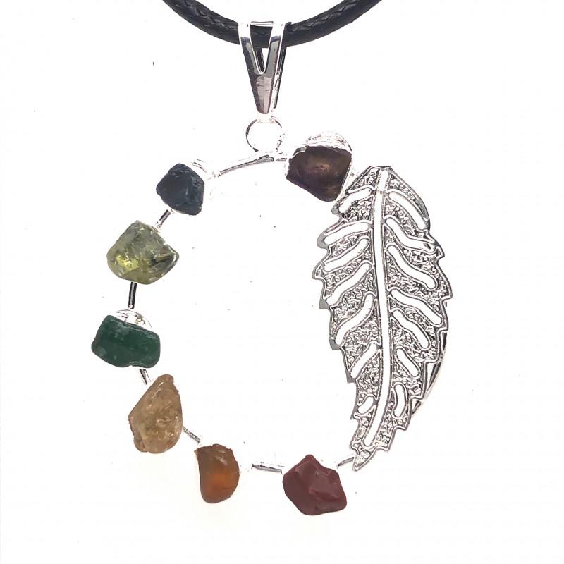Seven Chakra - natural stones - Fern Leaf Design pendant 677