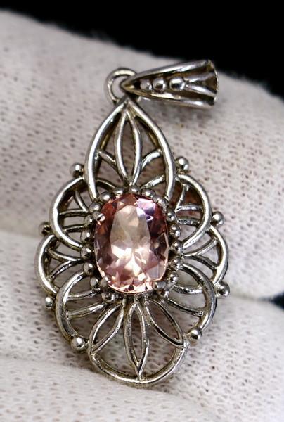 23.15 Cts Unheated & Natural ~ Purple Pink Kunzite Silver Pendant