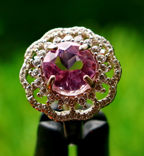 27.19 Cts Unheated & Natural ~ Purple Pink Kunzite Silver Ring