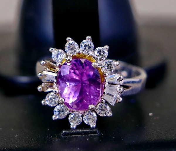 18.00 Cts Unheated & Natural ~ Purple Pink Kunzite Silver Ring