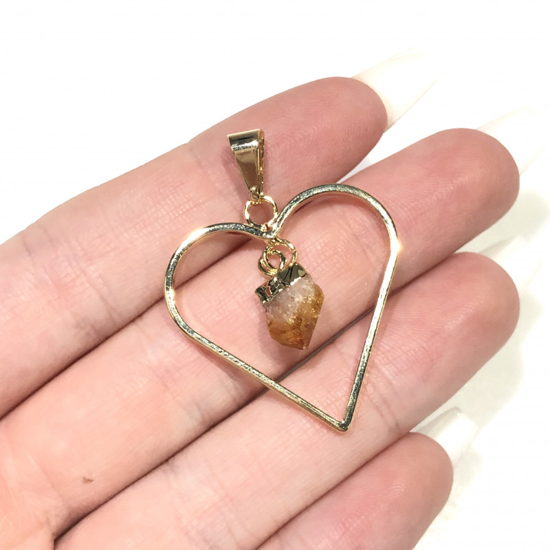 Terminated beautiful Citrine in Heart shape  Earrings n Pendant BR2074