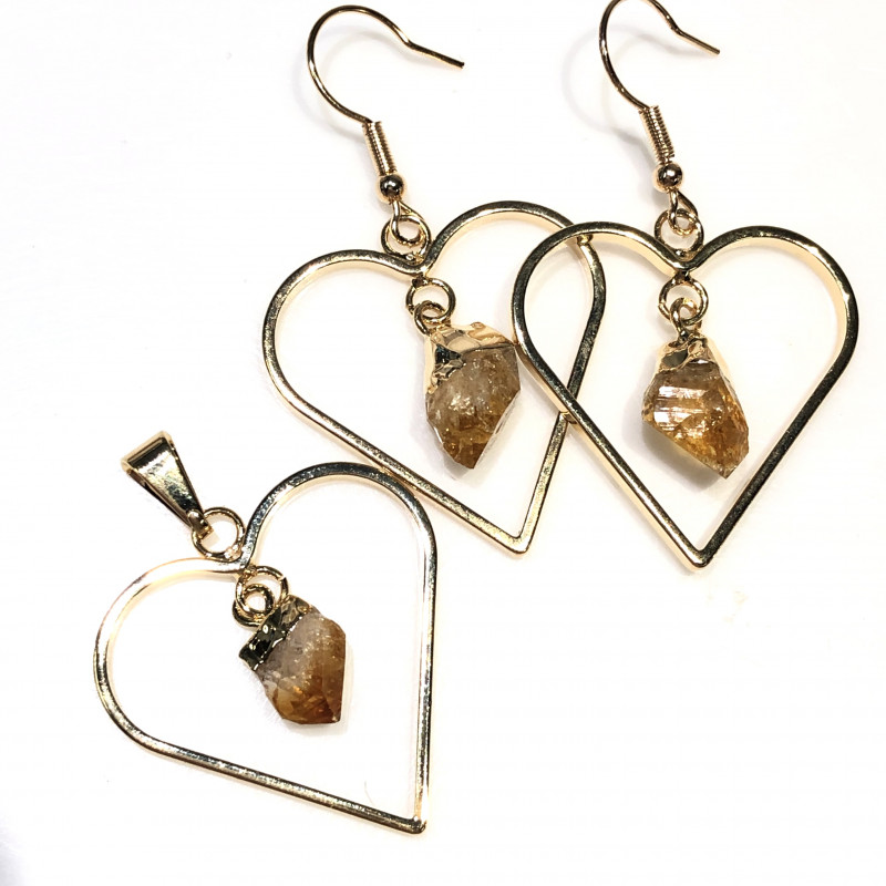 Terminated beautiful Citrine in Heart shape  Earrings n Pendant BR