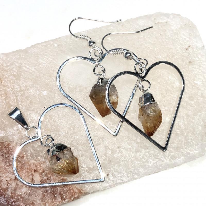 Terminated beautiful Citrine in Heart shape  Earrings n Pendant BR 2077