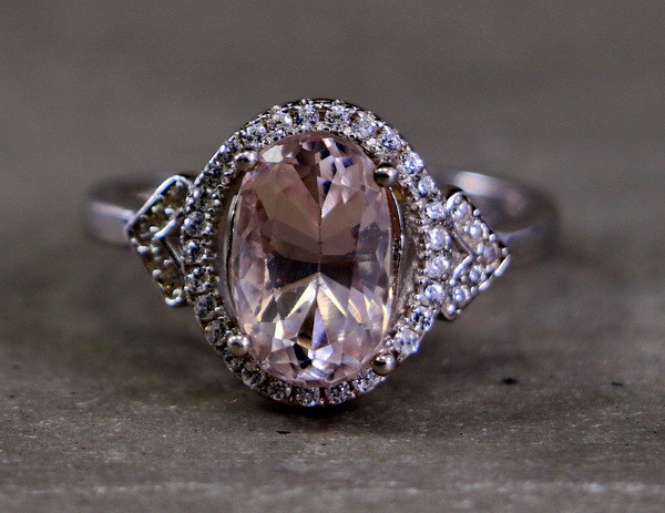 15.20 Cts Unheated & Natural ~ Purple Pink Kunzite Silver Ring