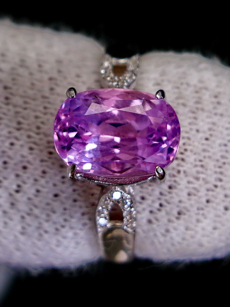 15.10 Cts Unheated & Natural ~ Purple Pink Kunzite Silver Ring
