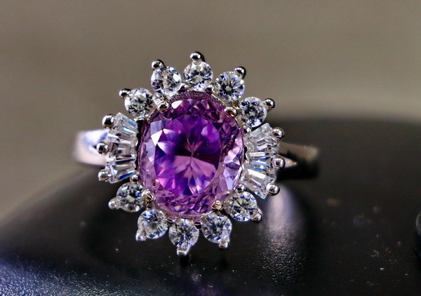 18.40 Cts Unheated & Natural ~ Purple Pink Kunzite Silver Ring