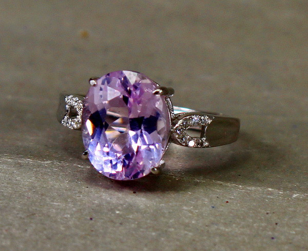 15.65 Cts Unheated & Natural ~ Purple Pink Kunzite Silver Ring