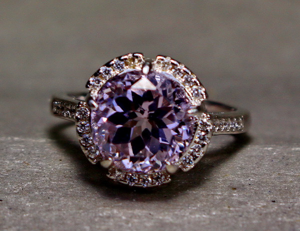 19.05 Cts Unheated & Natural ~ Purple Pink Kunzite Silver Ring