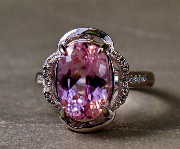 25.30 Cts Unheated & Natural ~ Purple Pink Kunzite Silver Ring