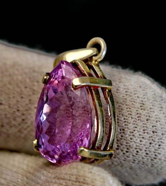 35.70 Cts Unheated & Natural ~ Purple Pink Kunzite Silver Pendant