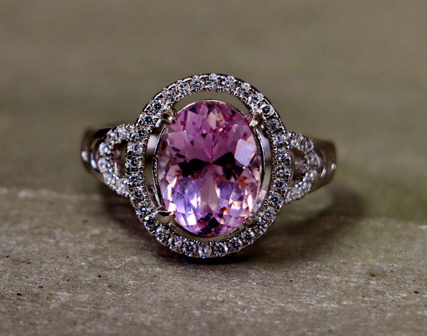 20.95 Cts Unheated & Natural ~ Purple Pink Kunzite Silver Ring
