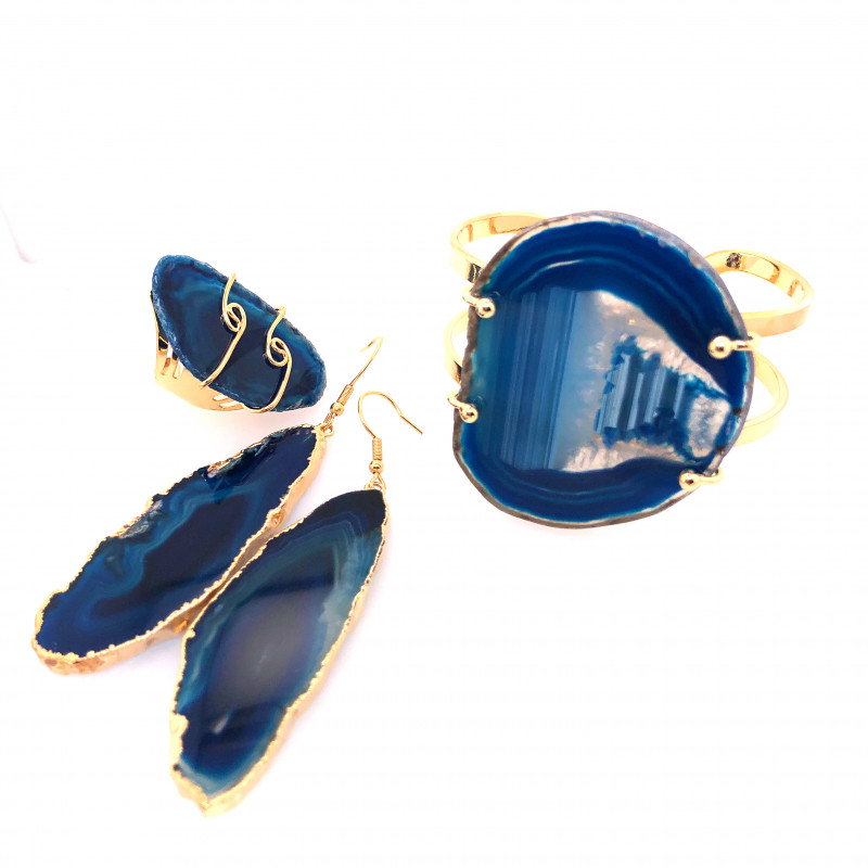 Beautiful Agate Jelwery set: Bracelet, Ring and Earrings  BR 683