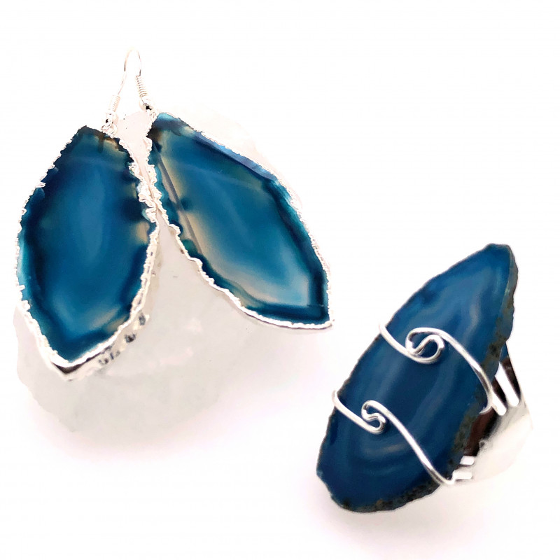 Beautiful Agate Jelwery set: Ring and Earrings  BR 684