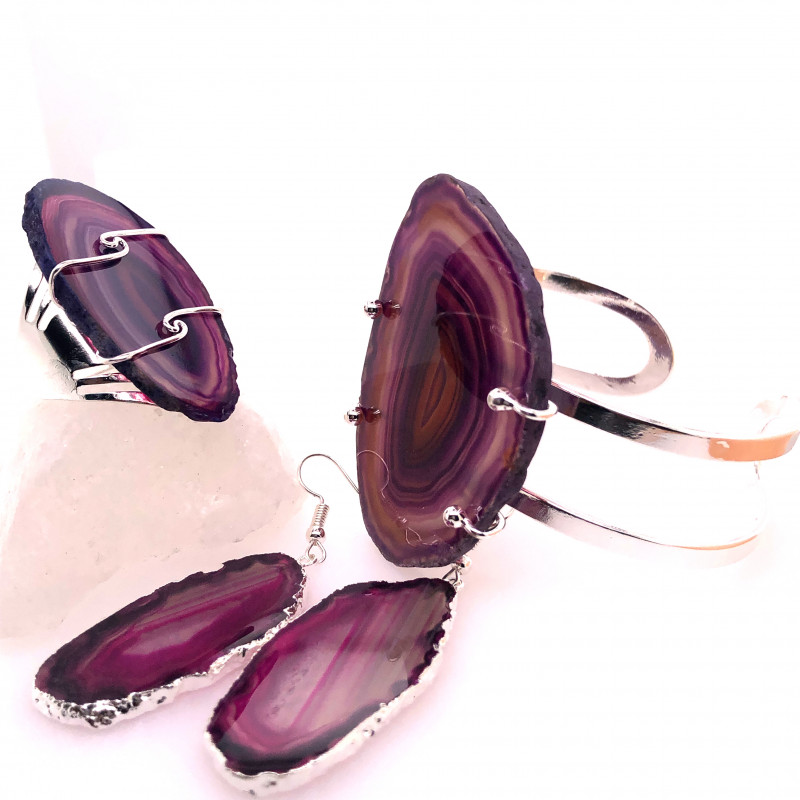 Beautiful Agate Jelwery set: Bracelet, Ring and Earrings  BR 687