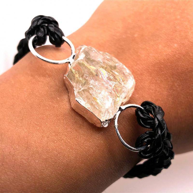 Raw Rock Crystal Bracelet  BR 696
