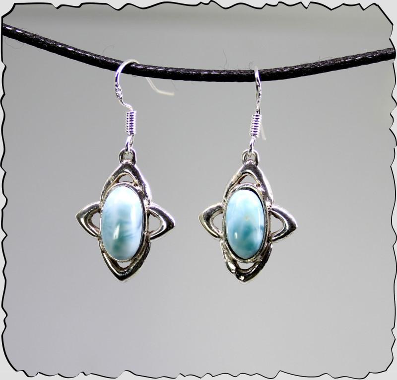 Charming Design Natural Light Blue Larimar .925 Sterling Silver Earrings 1.
