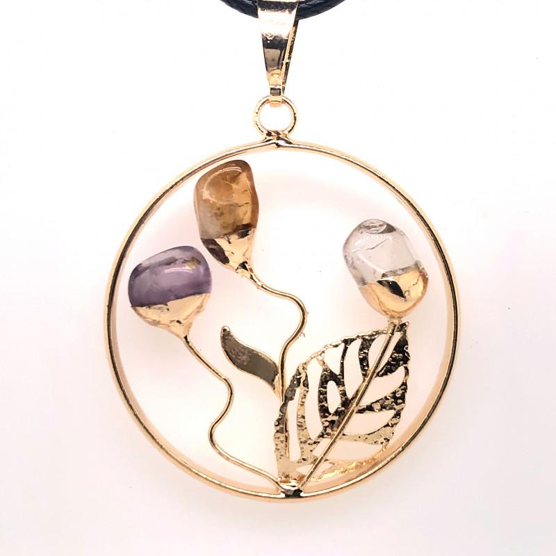 Happines Garden ,Amehyst.Citrine ,crystal ,black necklace BR743