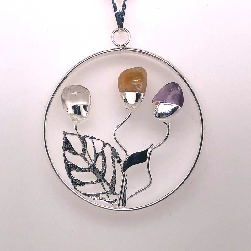 Happines Garden ,Amehyst.Citrine ,crystal , silver on chain BR2105