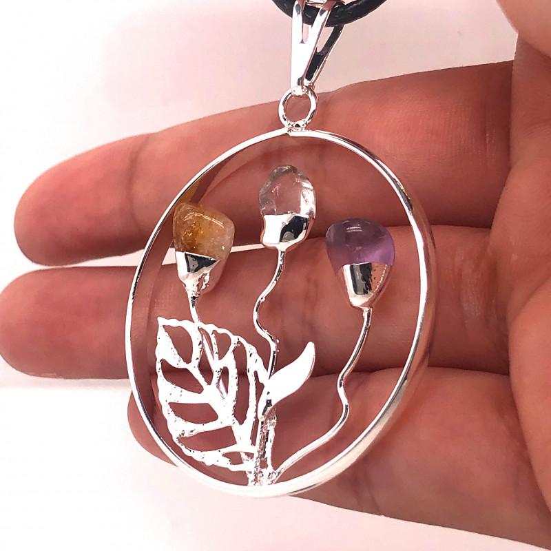 Happines Garden ,Amehyst.Citrine ,crystal , silver black  necklace BR748