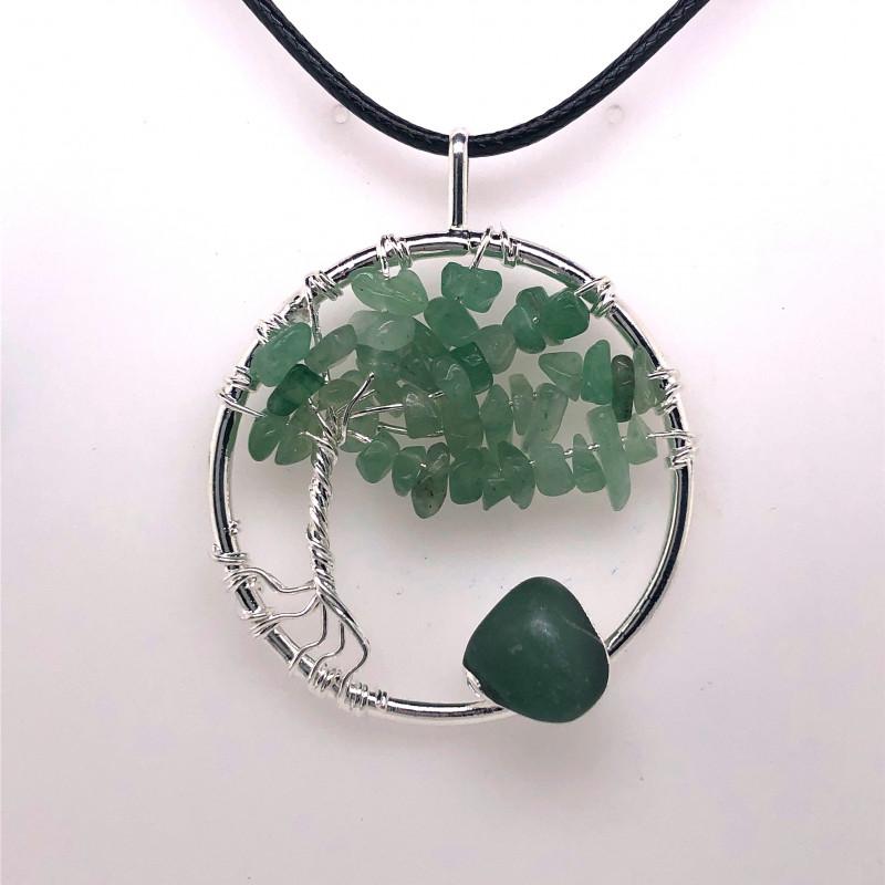 Green Happines Garden ,Aventurinel , silver black  necklace BR745
