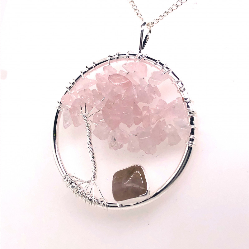 Pink Rose Quartz Earthly Tree Of Life,silver ,chain BR 751