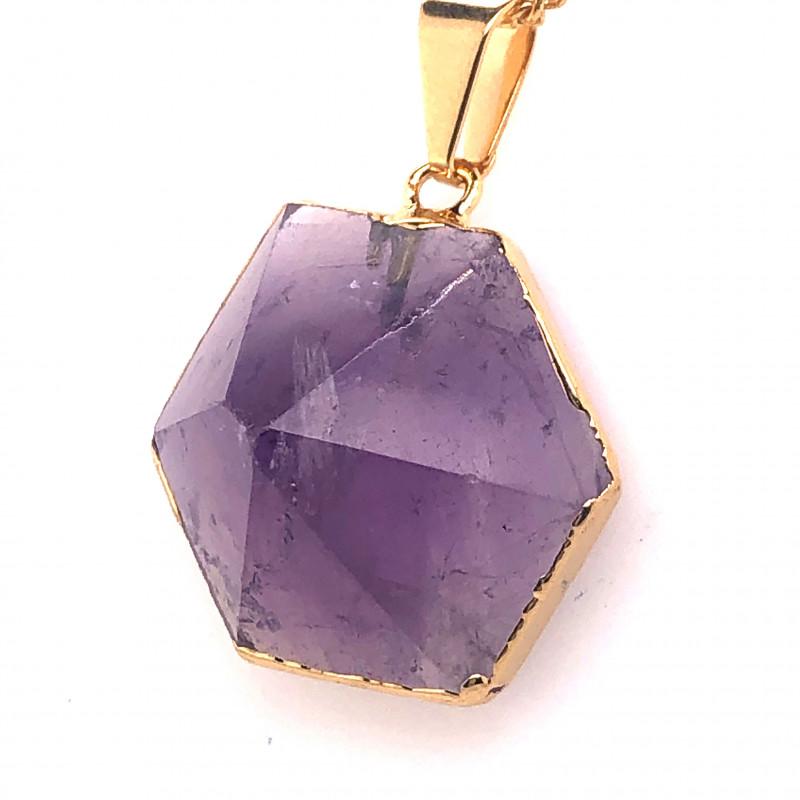 Amethyst Gemstone Terminated Point Gold ,chain BR 2113