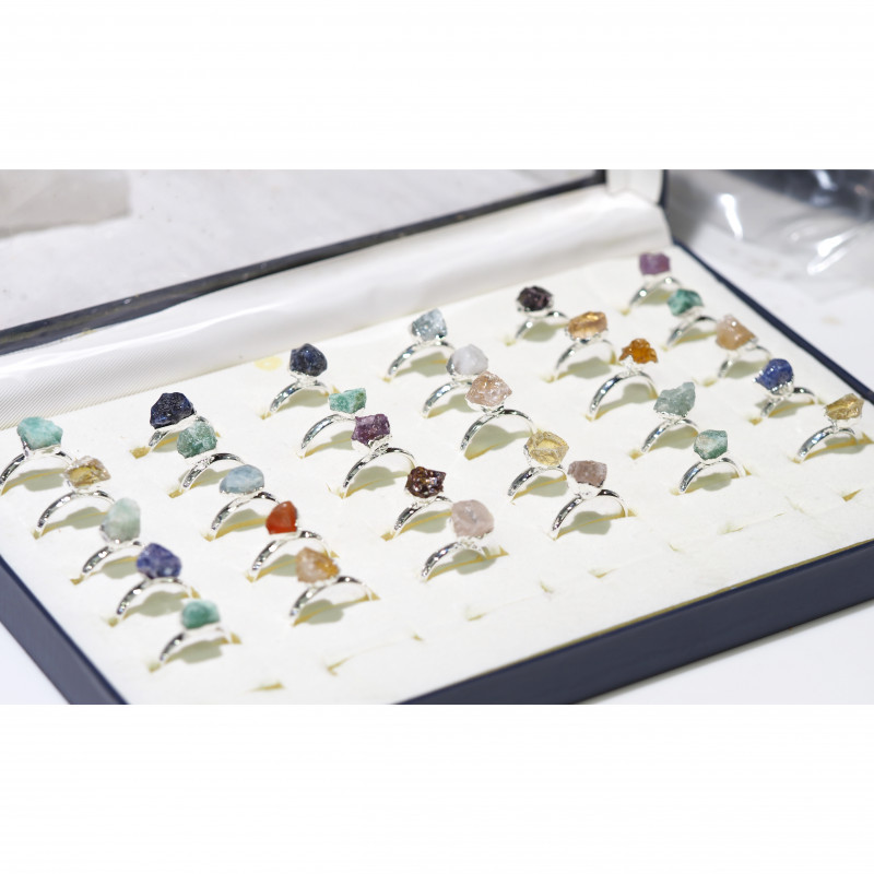 x30 set Rough Raw Colorful Gemstone Silver Plated Rings BR 768