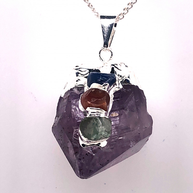 Amethyst Gemstone Terminated Point ,silver Chain necklace  BR 2114