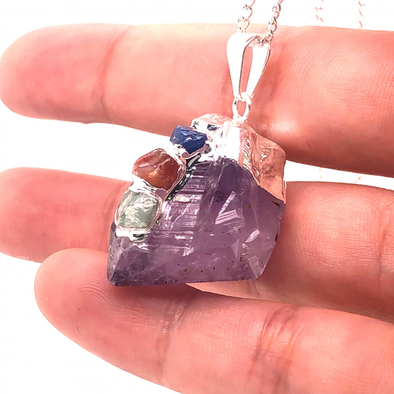 Amethyst Gemstone Terminated Point ,silver Chain necklace  BR 2115
