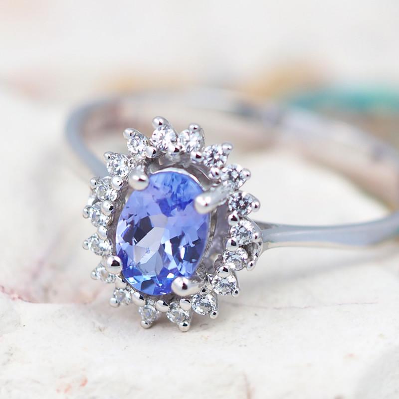 Natural Tanzanite in Silver Princess Ring F19