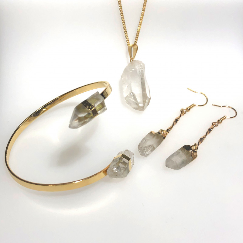 Raw Crystal Lovers 3 piece jelwery set   BR 2142