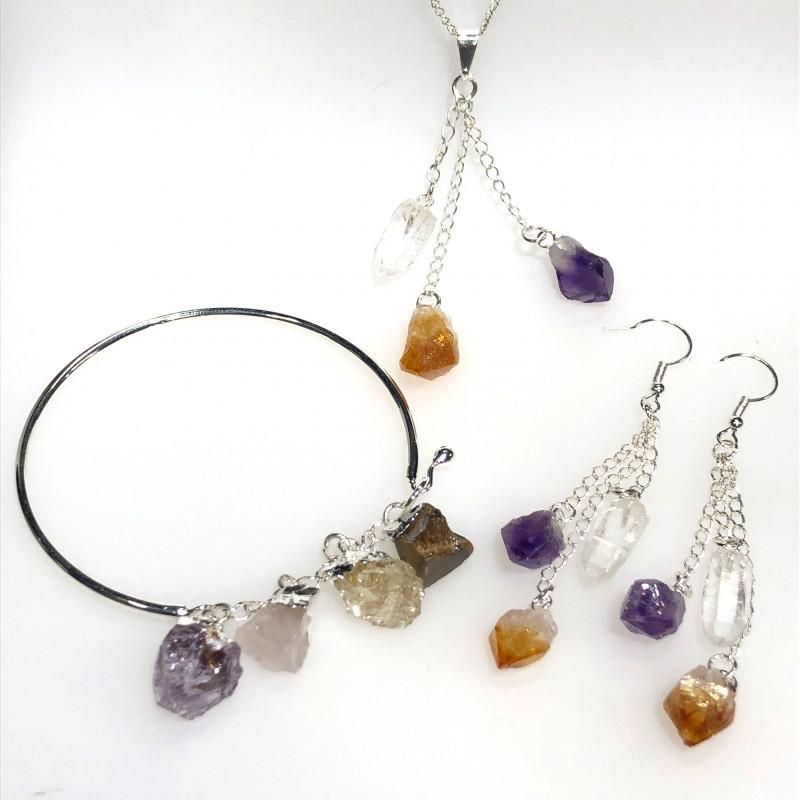 Raw Multi Gemstone  swing 3pc jewelry set Br 2148