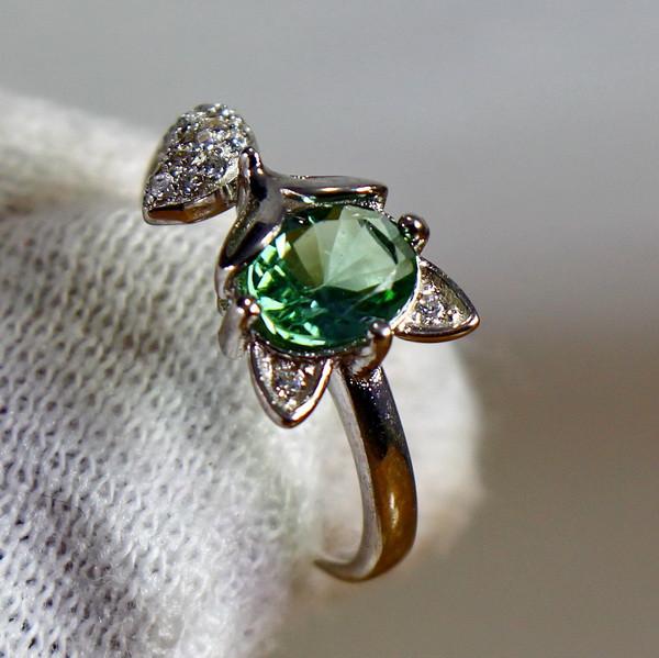 12.40 Cts Unheated & Natural ~ Green Tourmaline Silver Ring
