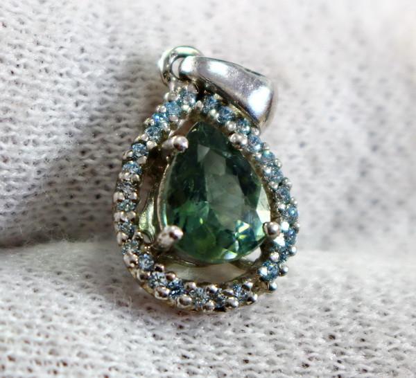 11.80 Cts Unheated & Natural ~ Green Tourmaline Silver Pendants
