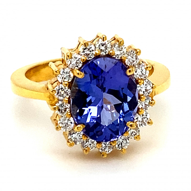 GIA Certified Tanzanite 5.72ct Natural Diamonds Solid 22K Yellow Gold Cockt