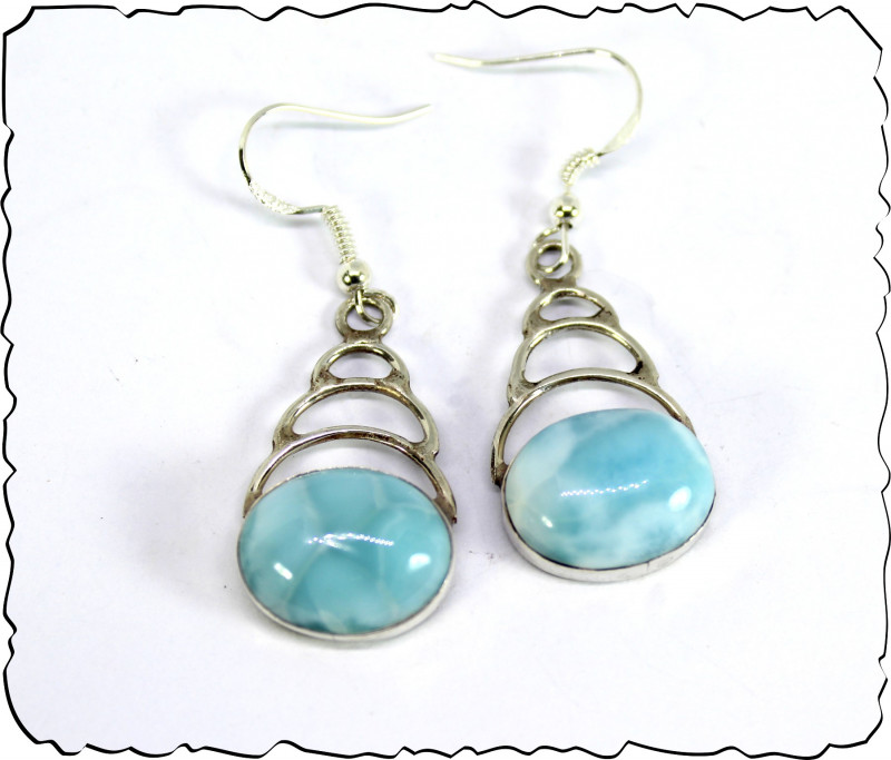 Genuine Dominican Handcrafted Larimar Solid Sterling Silver Earrings 2 inch