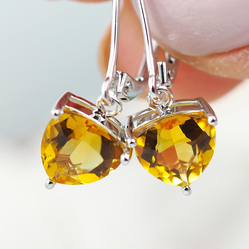 14 KW White Gold CITRINE Earrings - F28