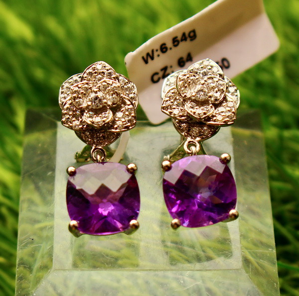 37.20 Cts Unheated & Natural ~ Purple Amethyst Silver Earrings