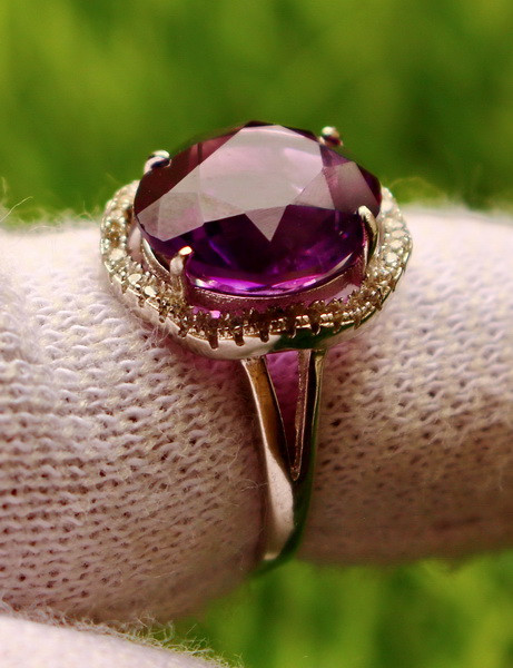 18.70  Cts Unheated & Natural ~ Purple Amethyst Silver Ring