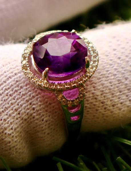 21.00 Cts Unheated & Natural ~ Purple Amethyst Silver Ring