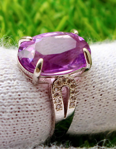 23.05 Cts Unheated & Natural ~ Purple Amethyst Silver Ring
