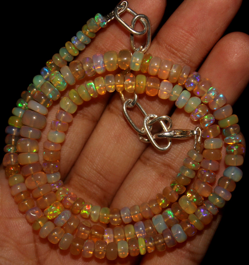 55 Crt Natural Ethiopian Welo Opal Beads Necklace 770