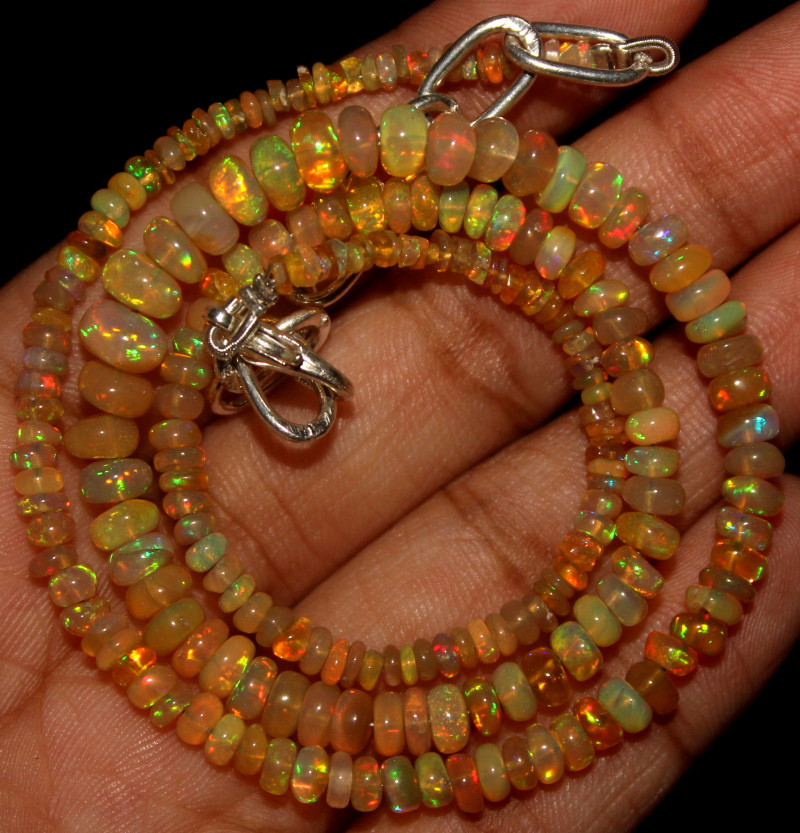 35 Crt Natural Ethiopian Welo Opal Beads Necklace 774