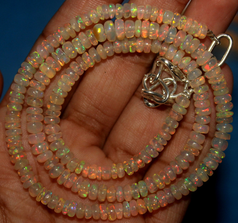 48 Crt Natural Ethiopian Welo Opal Beads Necklace 742