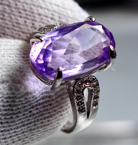 23.25 Cts Unheated & Natural ~ Purple Amethyst Silver Ring